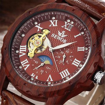 2017 SEWOR Classic Wood Colours Watches Men Skeleton Mechanical Watch Leather Luxury Man Clock