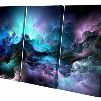 3 piece canvas art abstract psychedelic nebula space