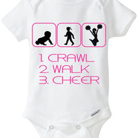 "Funny Silhouette Baby Girl Gift: Gerber Onesuit brand body suit ""1. Crawl 2. Walk 3. Cheer"" - Perfect new baby gift for the Cheerleader!"