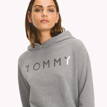 Tommy Hilfiger Silver Logo Women Fashion Pullover Hoodie