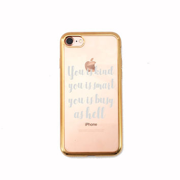 Cute stylish Clear phone case with gold rim for iPhone 6 and plus, i phone 7 & plus, galaxy 7 / edge  funny electronics case accessories