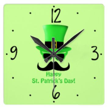 Customize St. Patrick's Day Mustache and Top hat Wall Clock