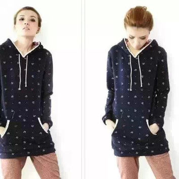 Anchor Dot Pattern Print Long-Sleeve Hoodie Sweater
