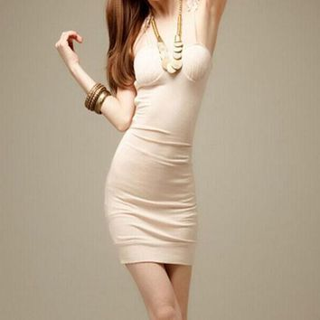 Streetstyle  Casual Apricot Patchwork Lace Hollow-out Spaghetti Straps V-neck Sleeveless Bodycon Club Mini Dress