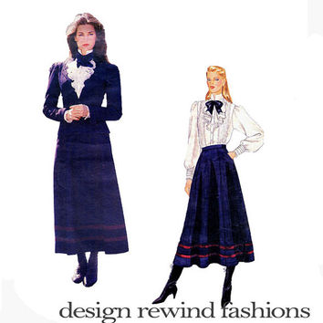 1980s RALPH LAUREN Victorian Romantic Princess Seam Jacket Jabot Front Ruffle Blouse Skirt Bust 32.5 Vogue 1065 UNCUT Vintage Sewing Pattern