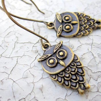 Owl earrings owl jewelry Hoot by pearlatplay on Etsy