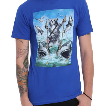Cat Riding Sharks T-Shirt