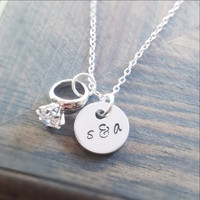Couples Initials and Engagement Ring Necklace