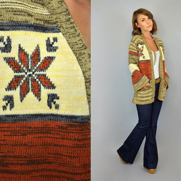 SPACE DYE vtg 70's bohemian southwestern hippie ethnic CARDIGAN sweater, extra small-medium