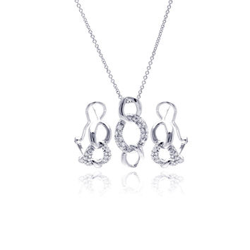 .925 Sterling Silver Rhodium Plated Open Circle Link Cubic Zirconia Lever Back Earring & Necklace Set