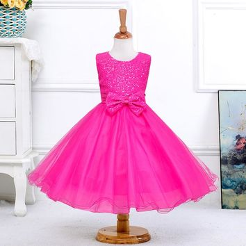 retail 1pcs New baby girls red Sequined bow beautiful sleeveless children wedding Party Dress free shipping 8089