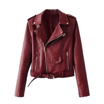 Faux Leather Women's Moto Jacket 5 Colors