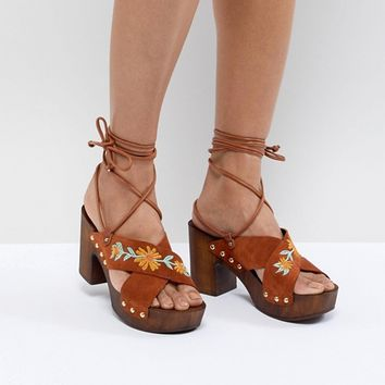 ASOS DESIGN Trey Suede Embroidered Heeled Sandals at asos.com