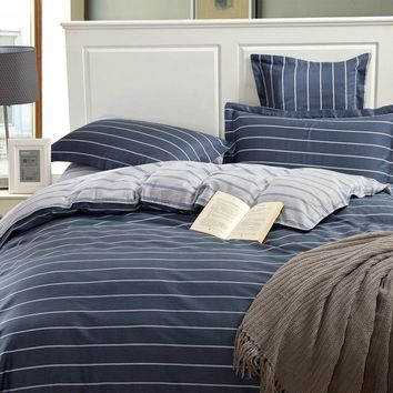 Simple Egyptian Cotton Bedding Set King Size Striped Bedspread Grey Color Plaid Cotton Bed Sheets For Men