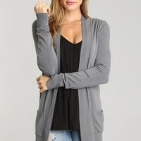 Preorder Basic Pocket Cardigan - Grey