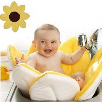 Baby Bathtub Foldable Flower Shape Mat Soft Seat Infant Sink Shower Play Bath Sunflower Cushion