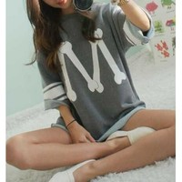 Wholesale Casual Women's Scoop Neck Loose-Fitting Printed 3/4 Length Sleeve T-shirt (DEEP GRAY), Blouses - Rosewholesale.com