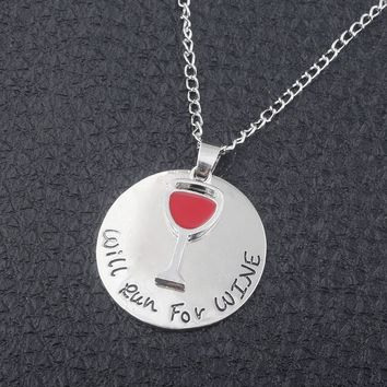 """""""Will run for wine"""" Necklace - Charm round Necklaces pendant red golden enamel  Men and Women Jewelry"""