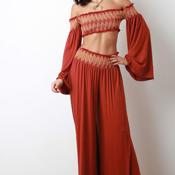 Scallop Seam Crop Smock Top with Palazzo Pants Set | UrbanOG