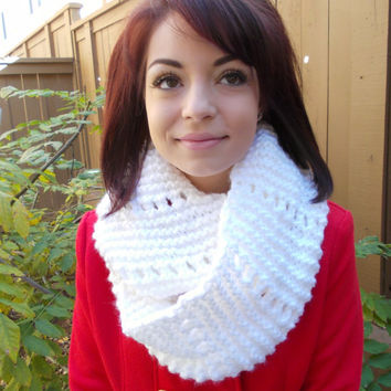 Hand Knitted Infinity Scarf - Knitted Cowl - Soft Neckwarmer - White Scarf - Mothers Day