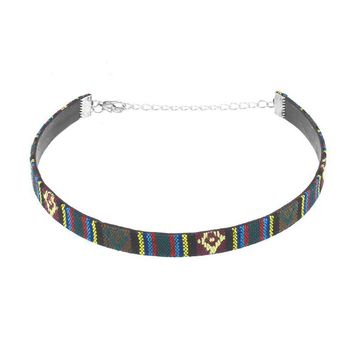 Embroidery Collar Necklace Harajuku PU Leather Chocker Women's Choker Necklace Fabric Collier Femme