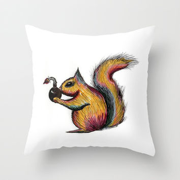 Explosive Nuts Throw Pillow by Half Moon Industries