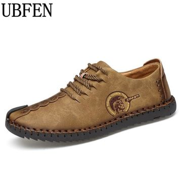 UBFEN 2017 Brand Fashion Comfortable Men Shoes Lace-up Solid Leather shoes For Men Male Casual Shoes huarache Hot Sale Black