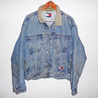 Vintage 90s Tommy Hilfiger Blue Denim Jean Jacket - XL -