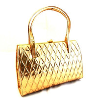 Vintage Gold Leather Purse/Handbag by LarkVintage on Etsy