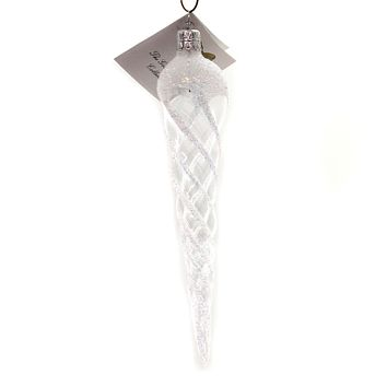 Golden Bell Collection White Glittered Icicle Glass Ornament