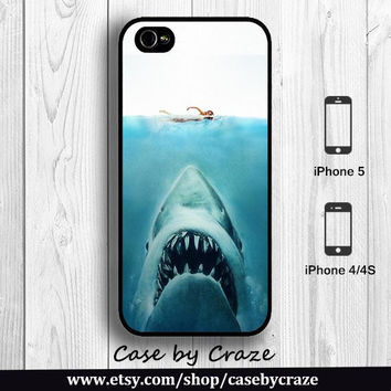 Shark Jaws iPhone 5 Case blue ocean iPhone 4S Case Big White Shark in sea iPhone 4 Back Cover --000087