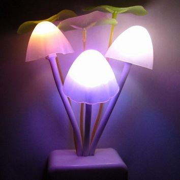 Romantic Colorful Sensor LED Mushroom Night Light Wall Lamp Home Decor