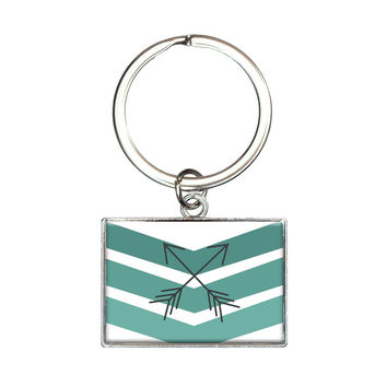 Blue Chevrons & Arrows Rectangle Keychain