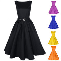 Women's Vintage Boat Neck Sleeveless Dress