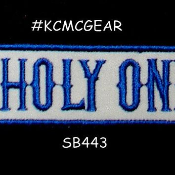 UNHOLY ONES Blue on white Iron on Small Badge Patch for Motorcycle Biker Vest SB443