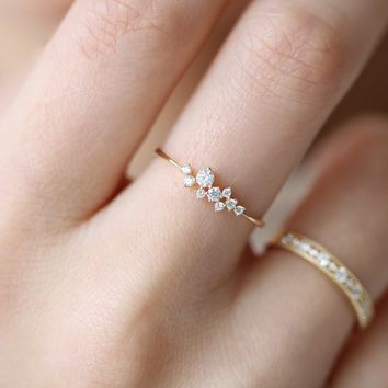 925 Sterling Silver Crystal 14k Solid Gold Simple 3 Diamonds Ring Zirconia Simple Rings for Women Anti Allergies CQ