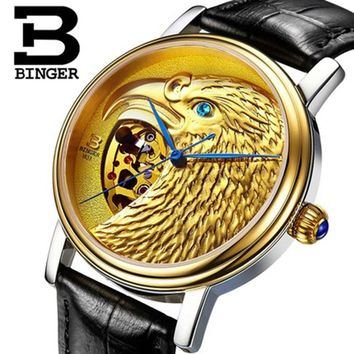 Genuine Luxury BINGER Brand Mens self-wind automatic mechanical watches fashion gold eagle male leather strap table