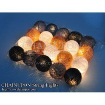 Dark Brown Gray Earth Tone Cotton Balls String Lights