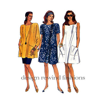 1990s A-Line DRESS TUNIC Straight SKIRT Very Easy Vogue 8081 Size 14 16 18 Bust 36 38 40 UnCUT Women's Misses Petite Vintage Sewing Patterns