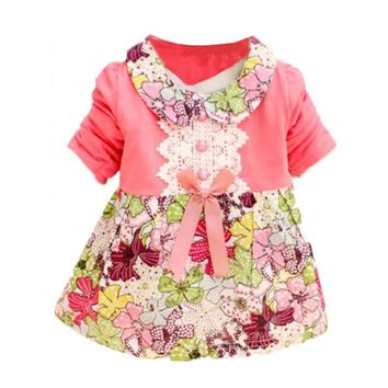 2017 Hot Sale Long Sleeve Doll Collar Baby Girls Dress 0-24M Infant Floral Lace Bow Clothes Dresses