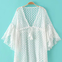 White Bell Sleeve Tie Neck Tassel Hollow Lace Dress