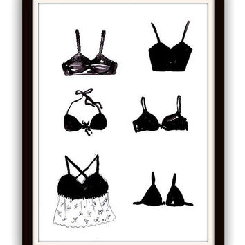 Langeries, watercolor painting, Printable, fashion Wall decor, decal  decals, minimalist, Victorias secret, bikini, bath wear, under garment