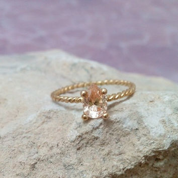 SALE! Champagne Ring,Peach Crystal Ring,Citrine Ring,Gold Ring, Gemstone Ring, Stacking Ring,November  Ring,Teardrop Ring, Tiny Ring