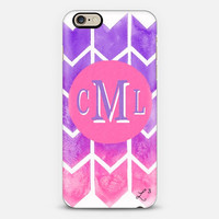 Pink Purple Bars Custom Slim Phone Case with Initials