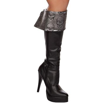 Sexy Metallic Pirate Skull Boot Cuffs