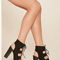 Faux Suede Lace-Up Platforms