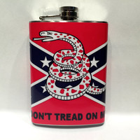 Don't Tread on Me Snake Flag Steel 8oz Hip Flask Rebel South Dixie