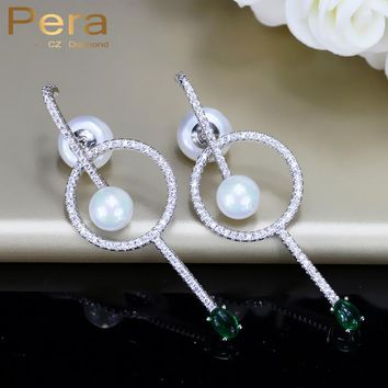 Pera Newest Style 925 Silver Ear Pin Jewelry Big Hollow Round Pearl Fashion Ladies Party Long Drop Earring With Green Stone E289