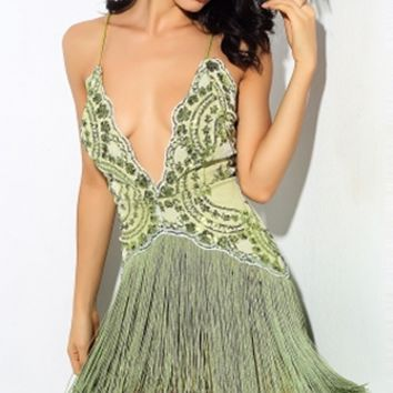 Dream Catcher Green Sequin Spaghetti Strap Plunge V Neck Fringe Mini Dress