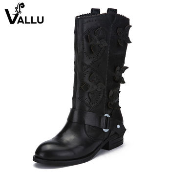 VALLU Genuine Leather Women Boots Knee High Flat Heels Cut Out Flower Buckle Cow Leather Women High Boots